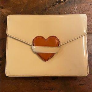 SUPER RARE! Moschino heart redwall clutch in ivory